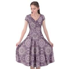 Oriental Pattern Cap Sleeve Wrap Front Dress by ValentinaDesign