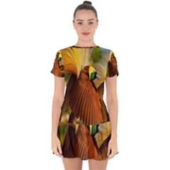 Birds Paradise Cendrawasih Drop Hem Mini Chiffon Dress