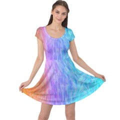 Aurora Rainbow Orange Pink Purple Blue Green Colorfull Cap Sleeve Dress by Mariart