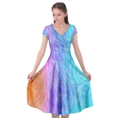 Aurora Rainbow Orange Pink Purple Blue Green Colorfull Cap Sleeve Wrap Front Dress by Mariart