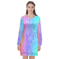 Aurora Rainbow Orange Pink Purple Blue Green Colorfull Long Sleeve Chiffon Shift Dress  by Mariart