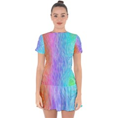 Aurora Rainbow Orange Pink Purple Blue Green Colorfull Drop Hem Mini Chiffon Dress by Mariart