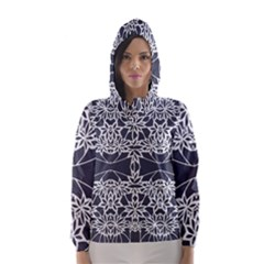 Blue White Lace Flower Floral Star Hooded Wind Breaker (women)