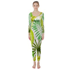 Amazon Forest Natural Green Yellow Leaf Long Sleeve Catsuit by Mariart