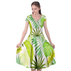 Amazon Forest Natural Green Yellow Leaf Cap Sleeve Wrap Front Dress by Mariart