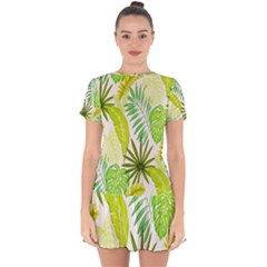 Amazon Forest Natural Green Yellow Leaf Drop Hem Mini Chiffon Dress