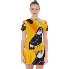 Cute Toucan Bird Cartoon Yellow Black Drop Hem Mini Chiffon Dress by Mariart