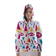 Eye Triangle Wave Chevron Red Yellow Blue Hooded Wind Breaker (women)