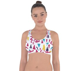 Eye Triangle Wave Chevron Red Yellow Blue Cross String Back Sports Bra by Mariart