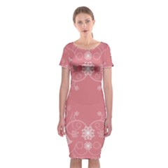 Flower Floral Leaf Pink Star Sunflower Classic Short Sleeve Midi Dress by Mariart