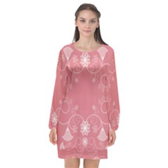 Flower Floral Leaf Pink Star Sunflower Long Sleeve Chiffon Shift Dress