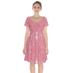 Flower Floral Leaf Pink Star Sunflower Short Sleeve Bardot Dress