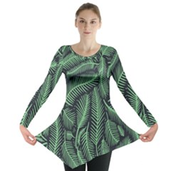 Coconut Leaves Summer Green Long Sleeve Tunic  by Mariart