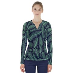 Coconut Leaves Summer Green V Neck Long Sleeve Top by Mariart