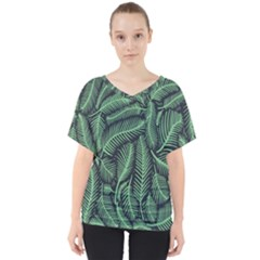 Coconut Leaves Summer Green V Neck Dolman Drape Top by Mariart