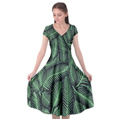 Coconut Leaves Summer Green Cap Sleeve Wrap Front Dress by Mariart
