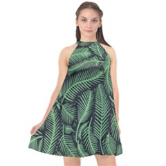 Coconut Leaves Summer Green Halter Neckline Chiffon Dress