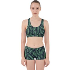 Coconut Leaves Summer Green Work It Out Sports Bra Set by Mariart