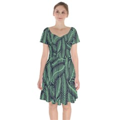 Coconut Leaves Summer Green Short Sleeve Bardot Dress by Mariart