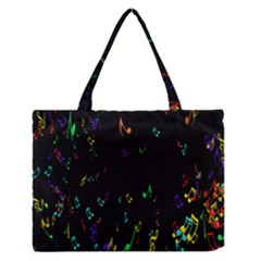 Colorful Music Notes Rainbow Zipper Medium Tote Bag