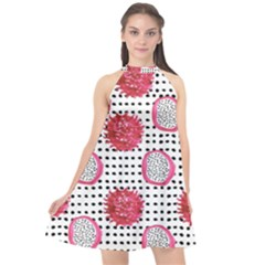 Fruit Patterns Bouffants Broken Hearts Dragon Polka Dots Red Black Halter Neckline Chiffon Dress