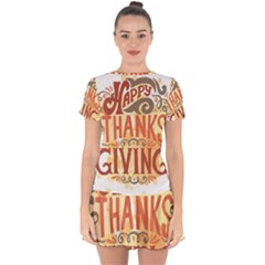 Happy Thanksgiving Sign Drop Hem Mini Chiffon Dress
