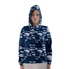 Jellyfish Fish Cartoon Sea Seaworld Hooded Wind Breaker (women) by Mariart