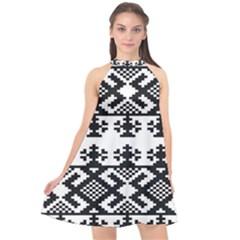 Model Traditional Draperie Line Black White Triangle Halter Neckline Chiffon Dress  by Mariart