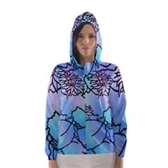 Lotus Flower Wall Purple Blue Hooded Wind Breaker (women)