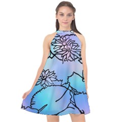 Lotus Flower Wall Purple Blue Halter Neckline Chiffon Dress  by Mariart