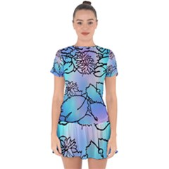 Lotus Flower Wall Purple Blue Drop Hem Mini Chiffon Dress