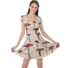 Mushroom Madness Red Grey Brown Polka Dots Cap Sleeve Dress by Mariart