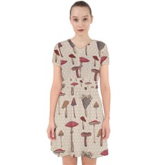 Mushroom Madness Red Grey Brown Polka Dots Adorable In Chiffon Dress by Mariart