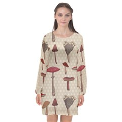 Mushroom Madness Red Grey Brown Polka Dots Long Sleeve Chiffon Shift Dress  by Mariart