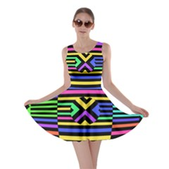 Optical Illusion Line Wave Chevron Rainbow Colorfull Skater Dress by Mariart