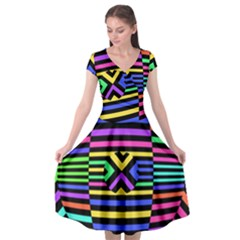 Optical Illusion Line Wave Chevron Rainbow Colorfull Cap Sleeve Wrap Front Dress by Mariart