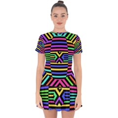 Optical Illusion Line Wave Chevron Rainbow Colorfull Drop Hem Mini Chiffon Dress by Mariart