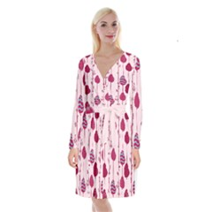 Original Tree Bird Leaf Flower Floral Pink Wave Chevron Blue Polka Dots Long Sleeve Velvet Front Wrap Dress by Mariart