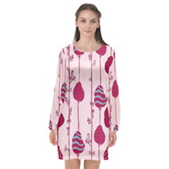 Original Tree Bird Leaf Flower Floral Pink Wave Chevron Blue Polka Dots Long Sleeve Chiffon Shift Dress  by Mariart