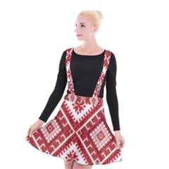 Model Traditional Draperie Line Red White Triangle Suspender Skater Skirt by Mariart