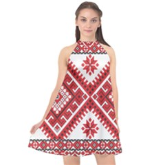 Model Traditional Draperie Line Red White Triangle Halter Neckline Chiffon Dress  by Mariart
