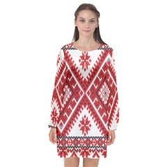 Model Traditional Draperie Line Red White Triangle Long Sleeve Chiffon Shift Dress
