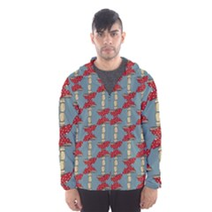 Mushroom Madness Red Grey Polka Dots Hooded Wind Breaker (men)