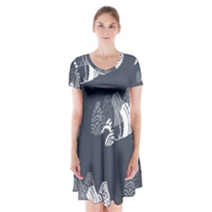 Japan Food Sashimi Short Sleeve V Neck Flare Dress by Mariart