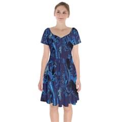 Pattern Butterfly Blue Stone Short Sleeve Bardot Dress