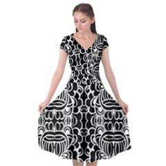 Psychedelic Pattern Flower Black Cap Sleeve Wrap Front Dress by Mariart