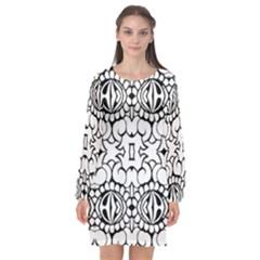 Psychedelic Pattern Flower Crown Black Flower Long Sleeve Chiffon Shift Dress