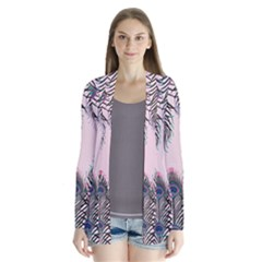 Peacock Feather Pattern Pink Love Heart Drape Collar Cardigan by Mariart