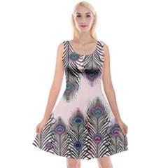 Peacock Feather Pattern Pink Love Heart Reversible Velvet Sleeveless Dress by Mariart