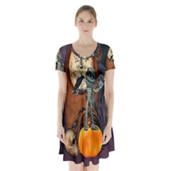 Funny Mummy With Skulls, Crow And Pumpkin Short Sleeve V Neck Flare Dress by FantasyWorld7